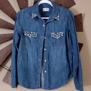 Universal Thread Jean button up with sequins